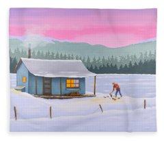Cabin On A Frozen Lake Fleece Blanket