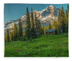 Cabin On The Hill Fleece Blanket
