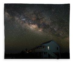 Cabin Under The Milky Way Fleece Blanket