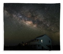Cabin Under The Milky Way Fleece Blanket