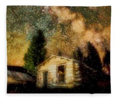 Cabins Under The Milky Way Fleece Blanket
