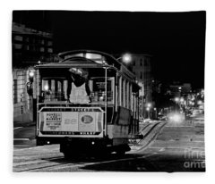 Cable Car At Night - San Francisco Fleece Blanket