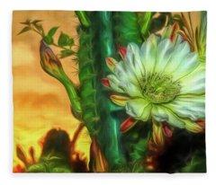 Cactus Flower At Sunrise Fleece Blanket