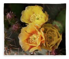 Yellow Cactus Flowers Fleece Blanket