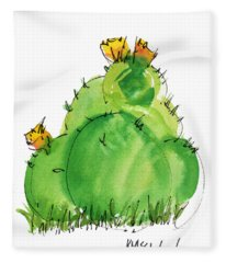 Cactus In The Yellow Flower Watercolor Painting By Kmcelwaine Fleece Blanket