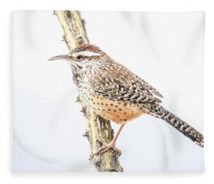 Cactus Wren # 1 Fleece Blanket
