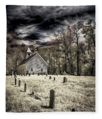 Cades Cove Church Fleece Blanket