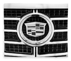 Cadillac Emblem Front Bw Fleece Blanket