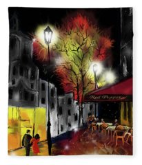 Cafe In The Rain Fleece Blanket