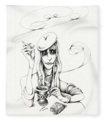 Cafe Lady Fleece Blanket
