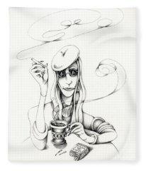 Cafe Lady Fleece Blanket