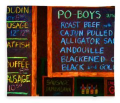 Cajun Menu Alligator Sausage Poboy - 20130119 Fleece Blanket