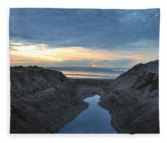 California Beach Stream At Sunset - Alt View Fleece Blanket