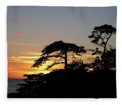 California Coastal Sunset Fleece Blanket