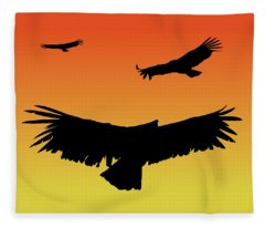 California Condors In Flight Silhouette At Sunset Fleece Blanket