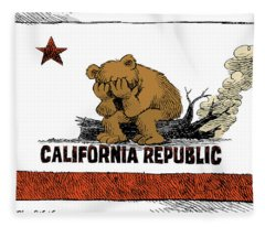 California Fire Bear Grieves Fleece Blanket