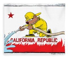 California Firefighter Flag Fleece Blanket