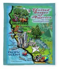 California Fun Map Fleece Blanket
