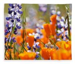 California Poppies And Lupine Fleece Blanket