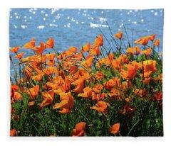California Poppies By Richardson Bay Fleece Blanket