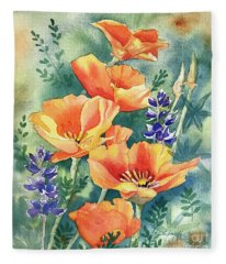 California Poppies In Bloom Fleece Blanket