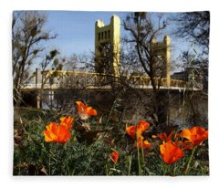 California Poppies With The Slightly Photographically Blurred Sacramento Tower Bridge In The Back Fleece Blanket