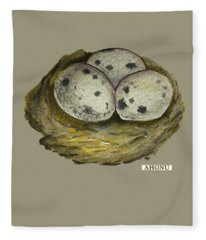 California Quail Eggs In Nest Fleece Blanket