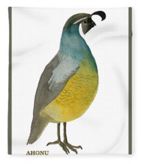 California Quail Posing Fleece Blanket