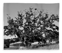 California Roadside Tree - Black And White Fleece Blanket