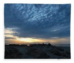 California Rocky Beach Sunset  Fleece Blanket