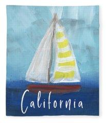 California Sailing- Art By Linda Woods Fleece Blanket