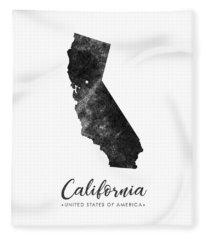 California State Map Art - Grunge Silhouette Fleece Blanket