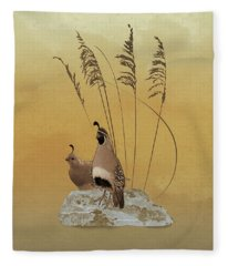 California Valley Quail Fleece Blanket