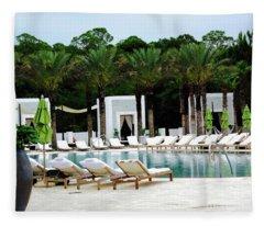 Caliza Pool In Alys Beach Fleece Blanket
