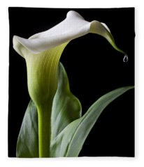 Calla Lily With Drip Fleece Blanket