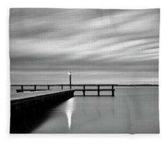 Calm Barnegat Bay New Jersey Black And White Fleece Blanket