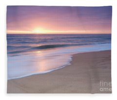 Calm Beach Waves During Sunset Fleece Blanket