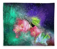Camellias In A Galaxy Far Far Away Fleece Blanket
