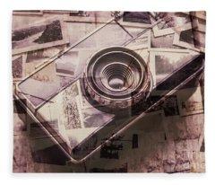 Camera Of A Vintage Double Exposure Fleece Blanket