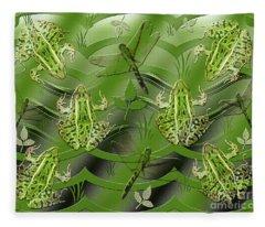 Camo Frog Dragonfly Fleece Blanket