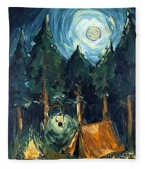 Camp At Night Fleece Blanket