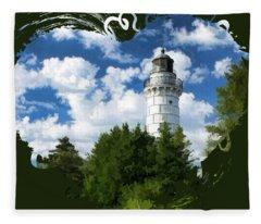 Cana Island Lighthouse Cloudscape In Door County Fleece Blanket