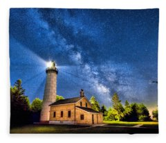 Cana Island Lighthouse Milky Way In Door County Wisconsin Fleece Blanket