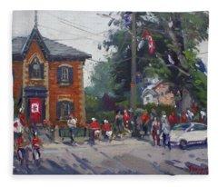 Canada Day Parade At Glen Williams  On Fleece Blanket