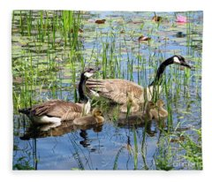 Canada Geese Family On Lily Pond Fleece Blanket