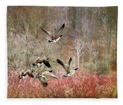 Canada Geese In Flight Fleece Blanket