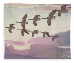 Canada Geese In Spring Fleece Blanket