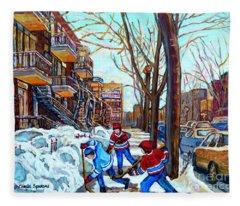 Canadian Art Street Hockey Game Verdun Montreal Memories Winter City Scene Paintings Carole Spandau Fleece Blanket