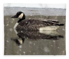 Canadian Goose In Michigan Fleece Blanket