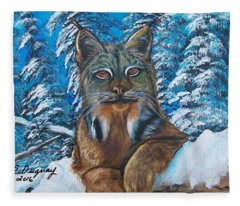 Canadian Lynx Fleece Blanket